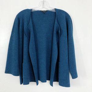 Eileen Fisher Blue Open Front Wool Cardigan